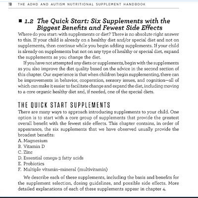 Pg 18 of ADHD and Autism Nutritional Supplement Handbook - Quick Start Supplements