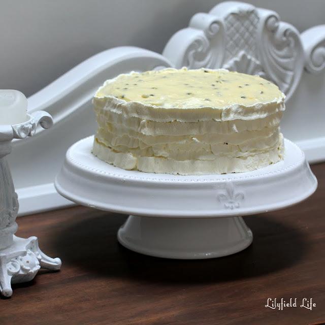 Ruffle sponge cake with passionfruit icing
