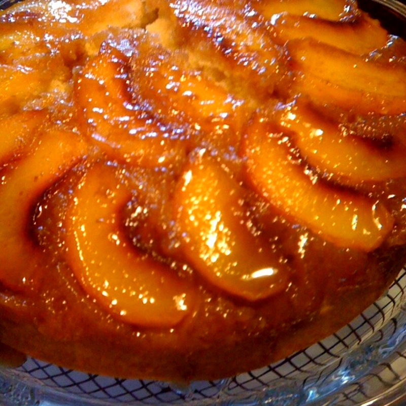 Peach Almond Upside-Down Cake - Kudos Kitchen by Renée