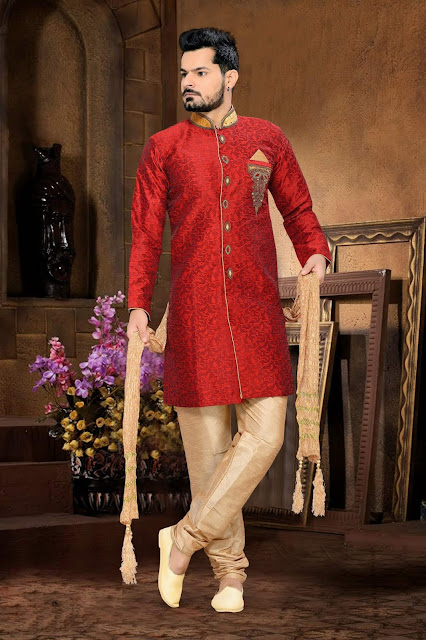 Red & Beige Jacquard Art Silk Designer IndoWestern Sherwanis For Wedding