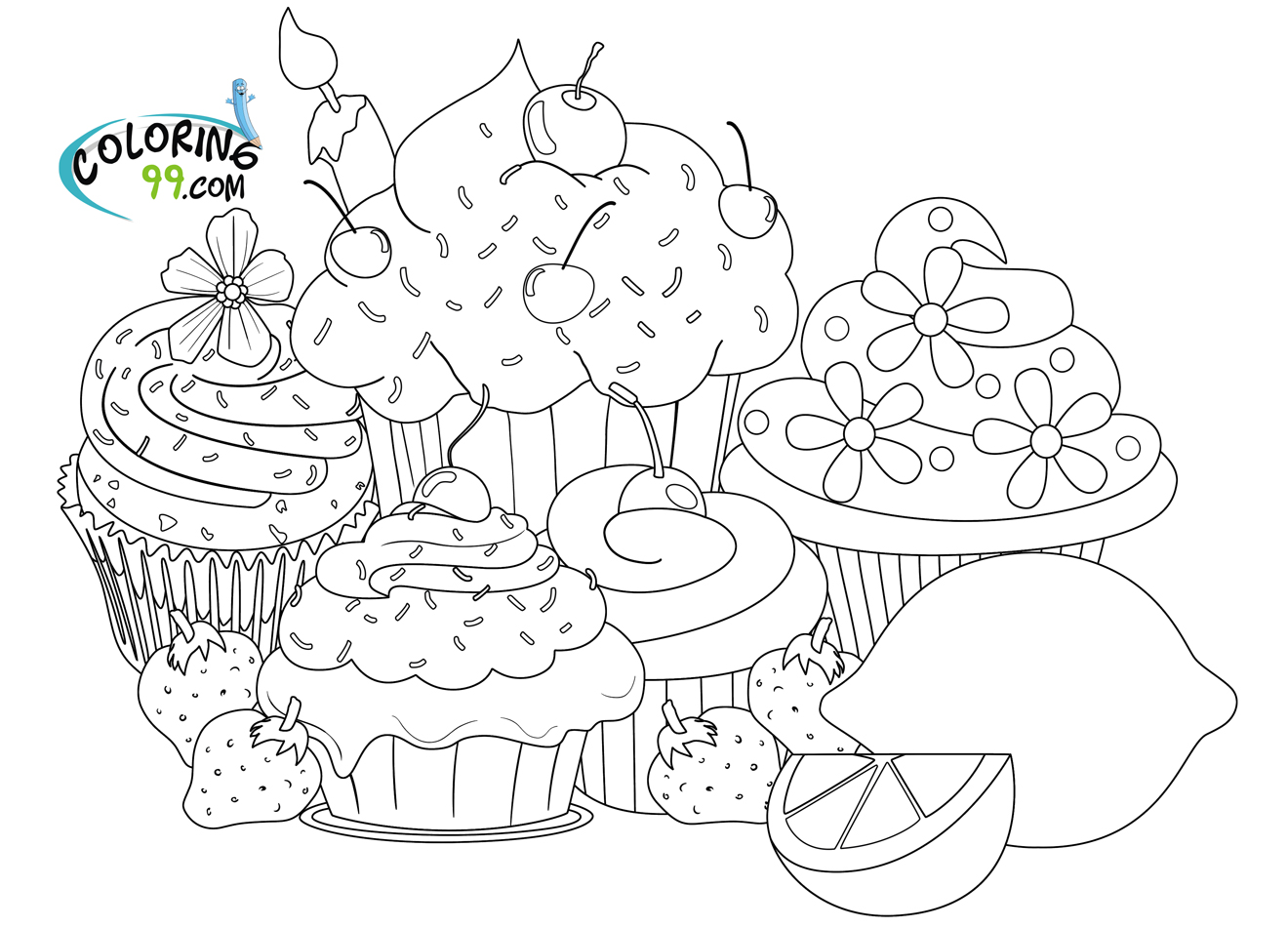 Colouring sheets hard - Cupcake Coloring Pages
