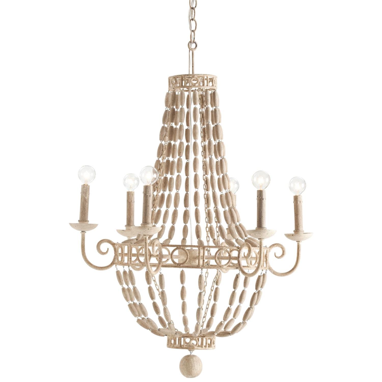 Wooden bead chandeliers