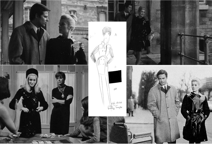 Yves Saint Laurent trench coat design for Belle de Jour, original sketch, movie outtakes via www.fashionedbylove.co.uk