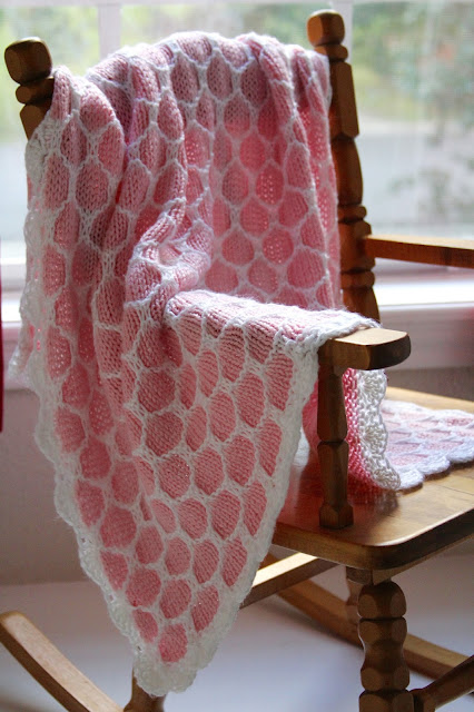 Knitted Pink and White Honeycomb Stroller Baby Blanket