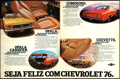 propaganda linha Chevrolet 76 - 1975.  brazilian advertising cars in the 70. os anos 70. história da década de 70; Brazil in the 70s; propaganda carros anos 70; Oswaldo Hernandez;