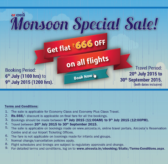 Aircosta Monsoon Mania Sale Get Flat 666 Off on all FLights Book Now!!! Akshar Infocom, Ahmedabad Travel Agent, Air Ticket Agent Ahmedabad, Cheap Flight Ticket Ahmedabad