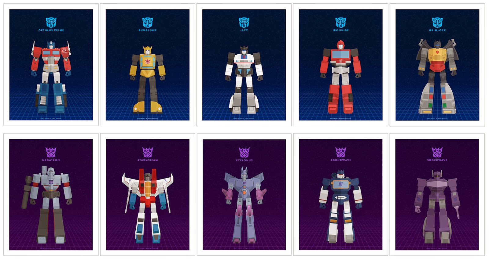 New York Comic Con 2014 Exclusive Transformers Generation 1 Print Set by Thong Le (Weaponix)