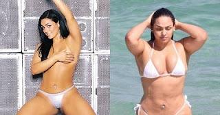 Andressa Soares (Mulher Melancia) Ela já posou quatro vezes para a Playboy e, em todas, ela causou. Melancia aparece bem diferente nos ensaios fotográficos. Já são poucas as fotos que mostram a sua barriga e as que mostram são muito photoshopadas .