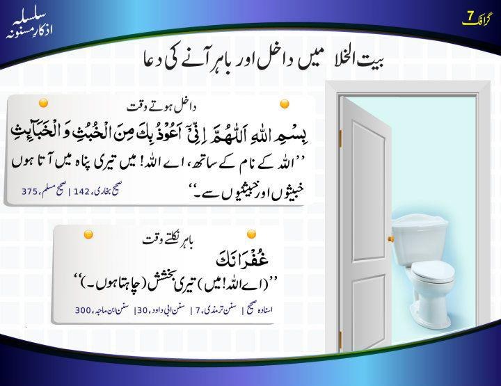 Bathroom Ki Dua بیت الخلا میں داخل ہونے اور باہر آنے کی دعا | supplication before