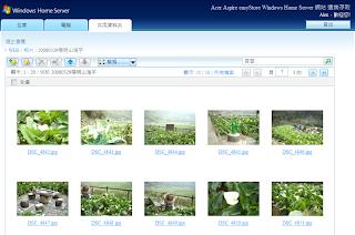 使用瀏覽器以縮圖方式顯示分享的照片