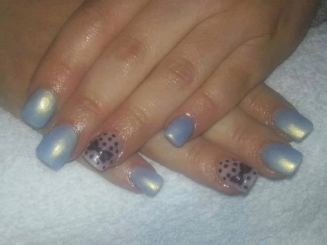 acrylic backfill; led polish with pearlising; dots and bows for feats nails art design