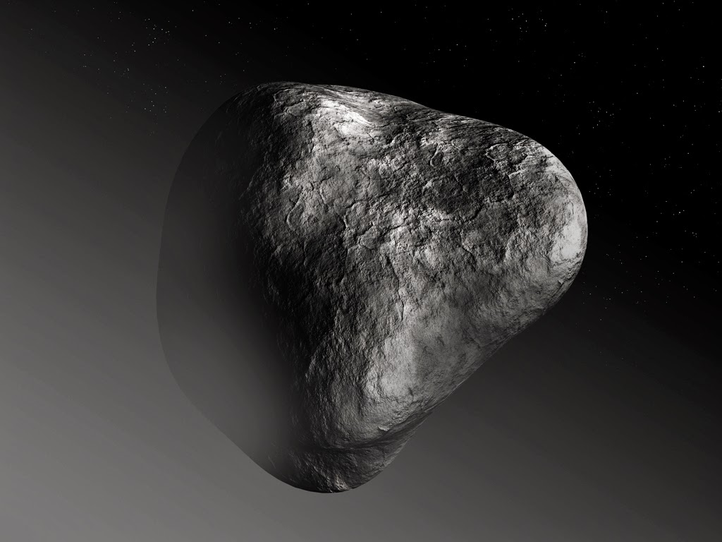 Artist's impression of the nucleus of comet 67P/Churyumov–Gerasimenko, portrayed far from the Sun with little to no activity.