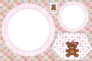 Moldura Convite e Cartão Chá de Fraldas e Nascimento Ursinha Marrom e Rosa: