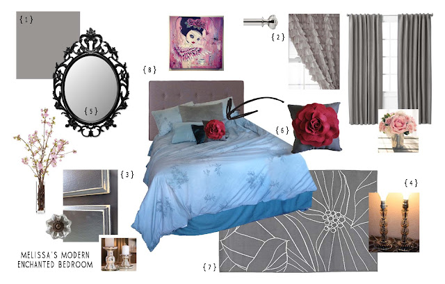 gray blue and red bedroom