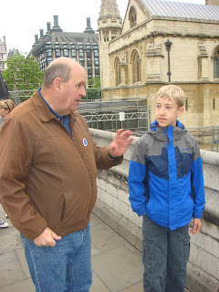 Me with my guide, John Gowing, by Westminster Abbey, London, England