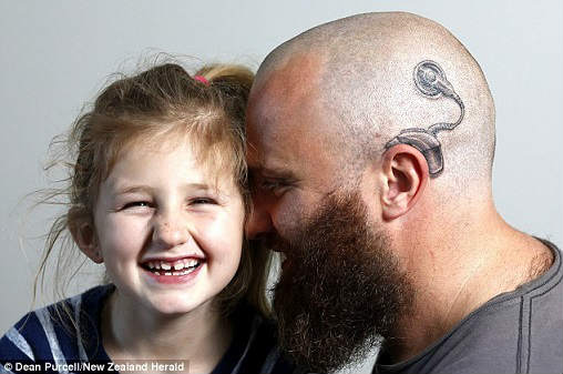 Coolest Dad Ever Gets Cochlear Implant Tattoo To Match her daughter, sweet dad,