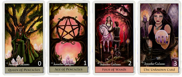 Full moon reading, Crystal Visions Tarot, Queen of Pentacles, Ace of Pentacles, Four of wands, The unknown Card