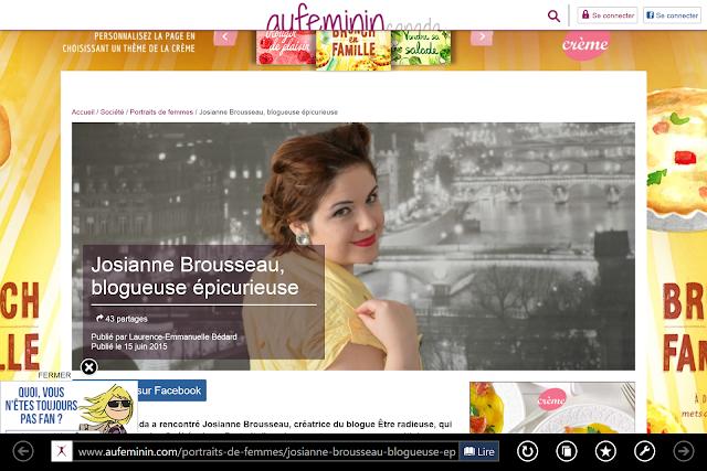 Aufeminin Canada dresse un portrait de Josianne Brousseau, blogueuse épicurieuse!