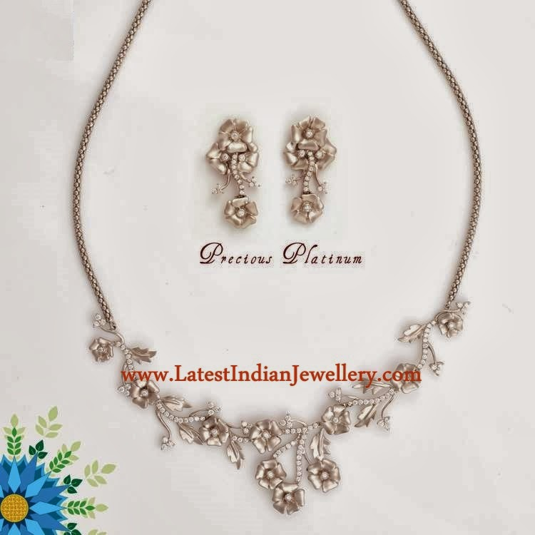 Platinum Floral Designer Necklace