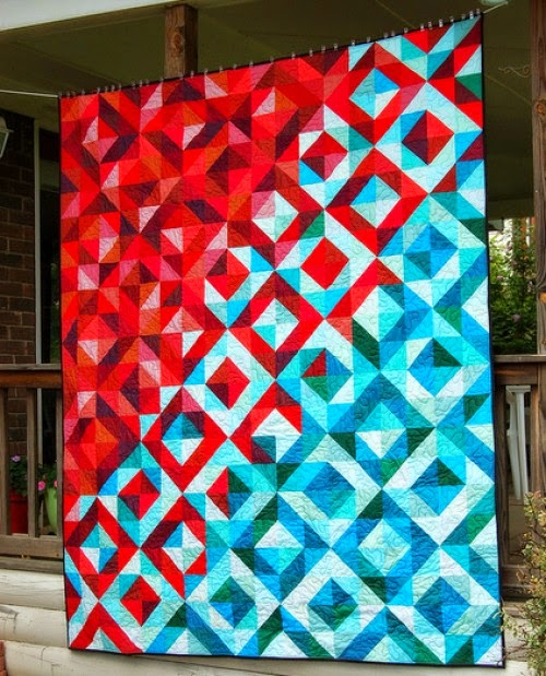 Lava Meets Sea Half Square Triangle Quilt - Tutorial
