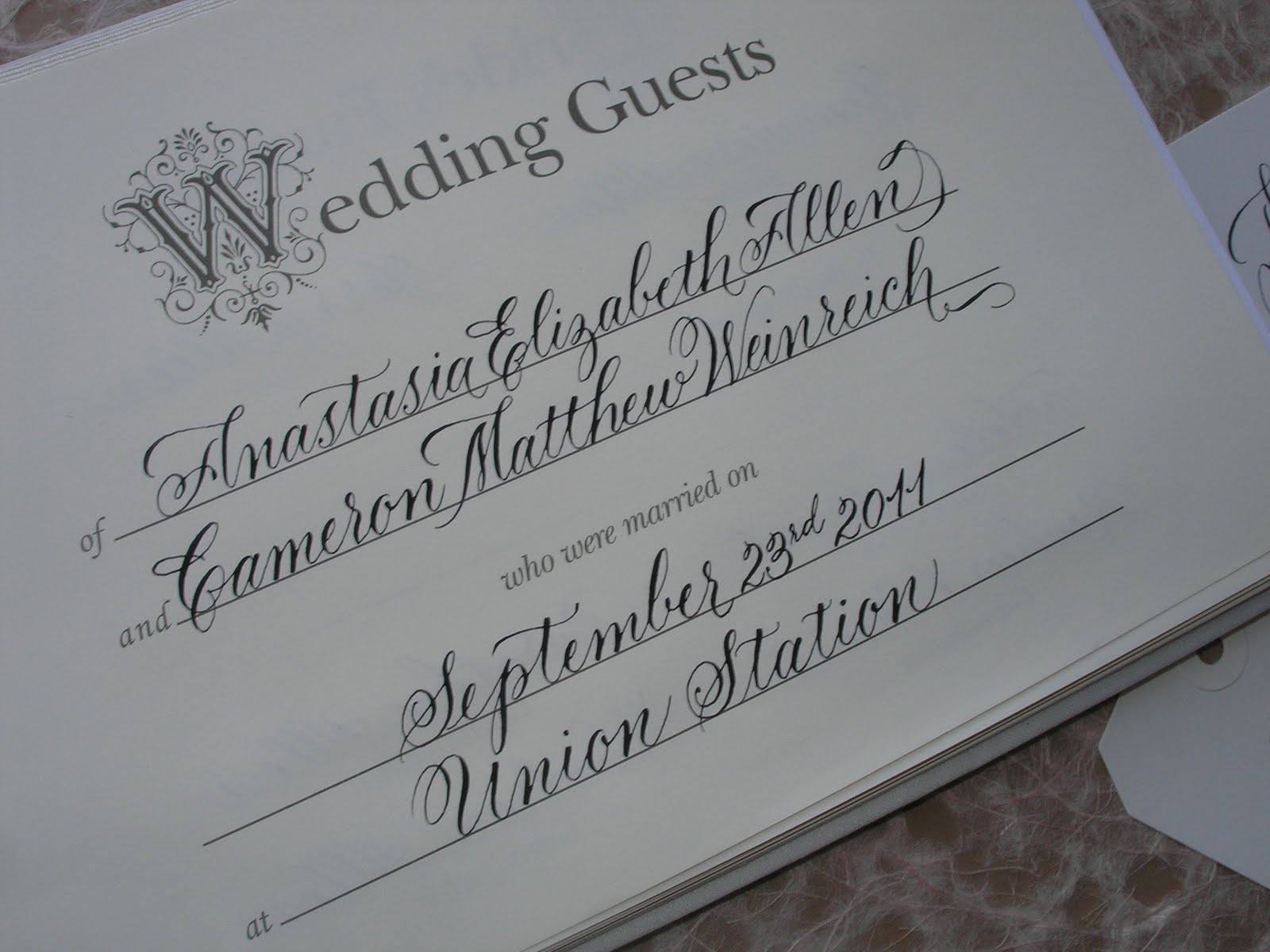 Wedding Calligraphy By Jane Farr Wedding Calligraphy For