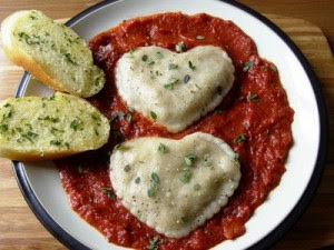 Sapore's, Middlesex, NJ  heartshaped ravioli and tomato sauce