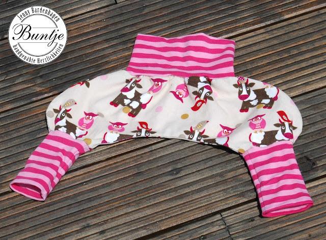 Pumphose Mitwachshose Sarouelhose Hose Dschinni Baby Cord Jersey Bündchen beige rosa pink rot Eulen Kuh Vogel Stenzo nähen handmade Buntje 56/62