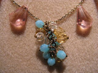 handmade, crystal necklace, cluster