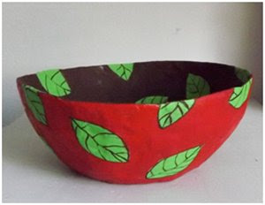 Paper mache decorative leaf bowl
