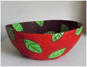 Paper mache decorative leaf bowl