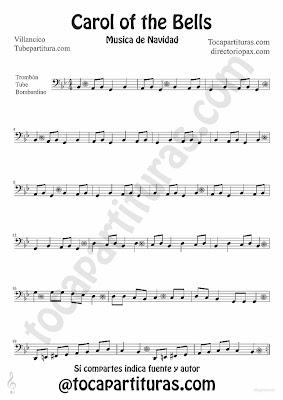 Partitura de Trombón, Tuba y Bombardino del tema tradicional Carol of the Bells en Clave de FA villancico de Navidad