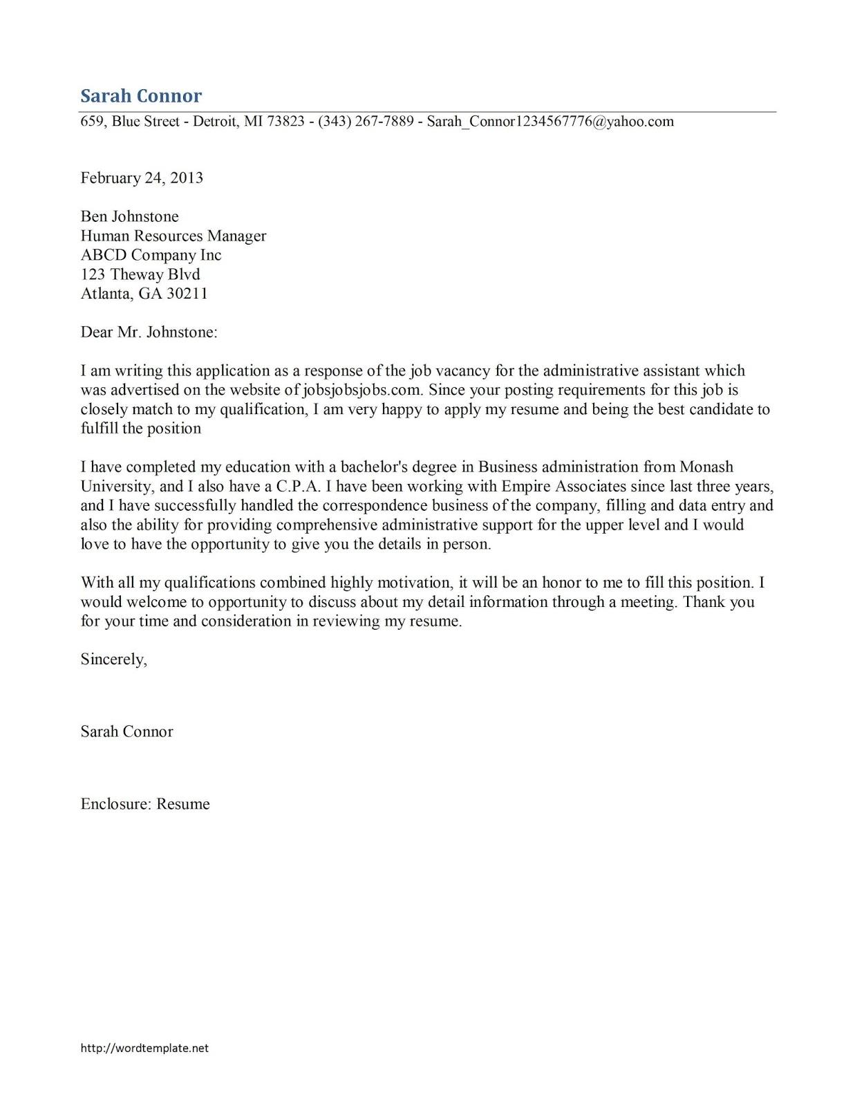 job application letter sample 1