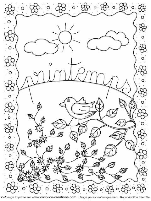 Coloriage printemps gratuit liberate - Coloriage saisons a imprimer ...