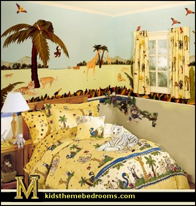 Safari jungle bedroom decorating ideas exotic tropical for Forest themed bedroom ideas