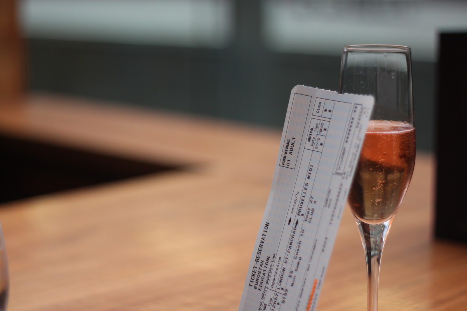 Eurostar tickets and pink champagne