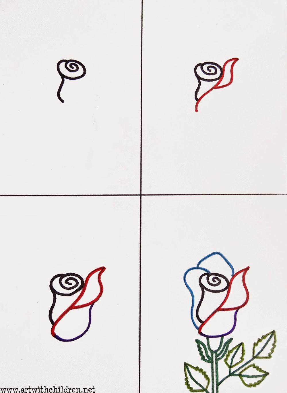 Rose Drawings Step by Step