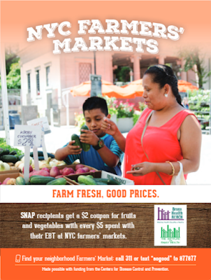 """Farm Fresh, Good Prices. SNAP recipients get a $2 coupon for fruits and vegetables with every $5 spent with their EBT farmer's markets. Find your neighborhood Farmer's Market call 311 or text """"sogood"""" to 877877. (Made possible with funding from the Centers for Disease Control and Prevention)."""