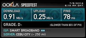 smart internet speed test result