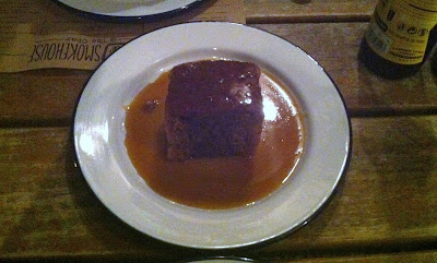 sticky toffee pudding with salted caramel bourbon sauce