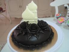 Chocolate Moist Cake with Ganache Roses