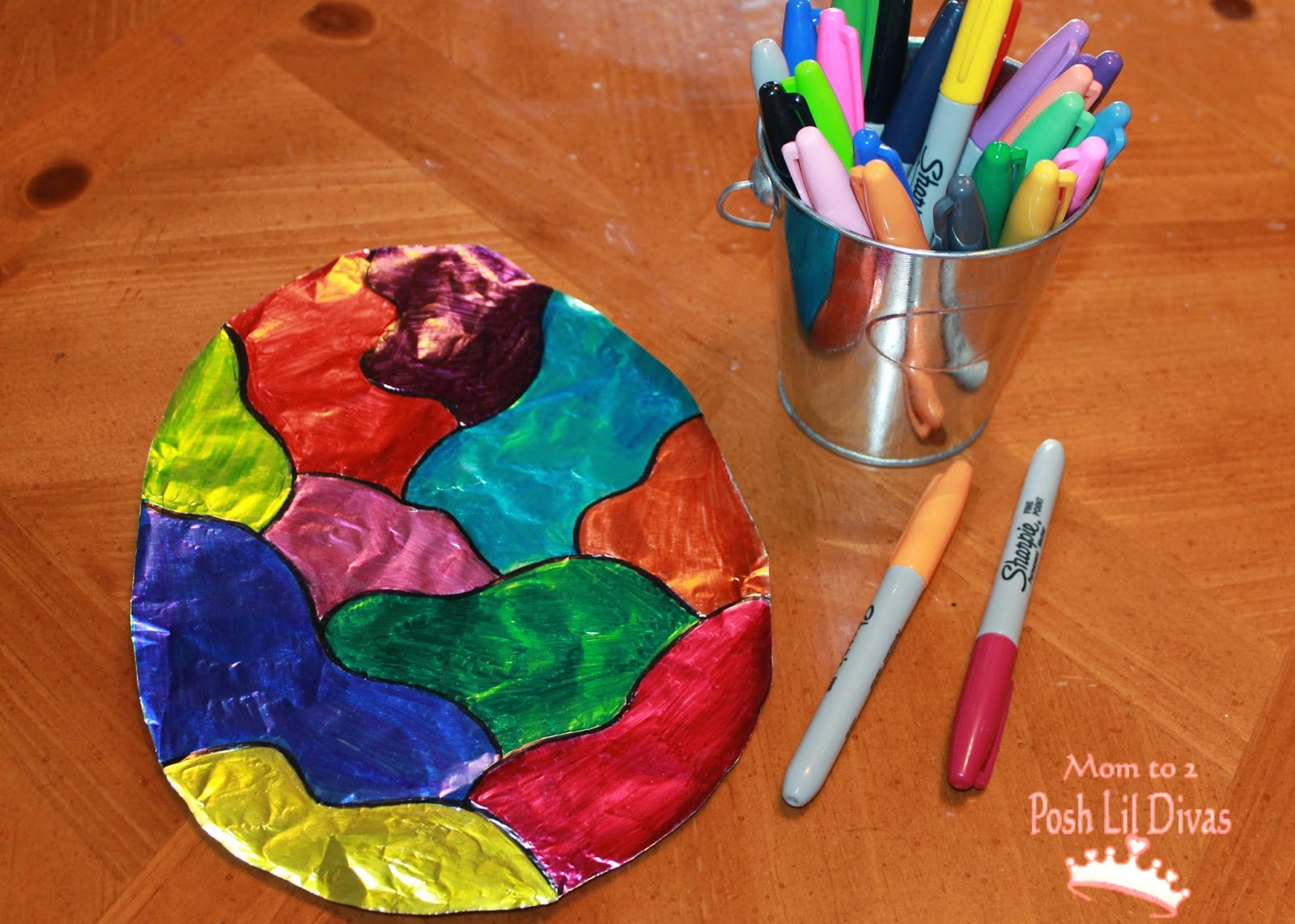 Easter egg foil sharpie art for Things to make arts and crafts