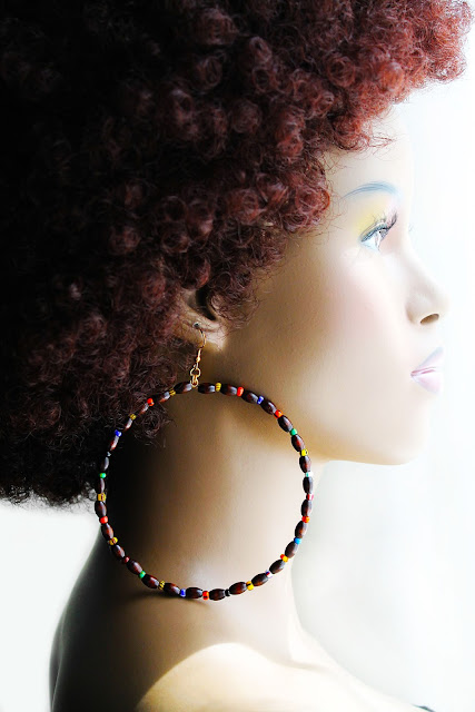 large african wood beaded hoop earrings