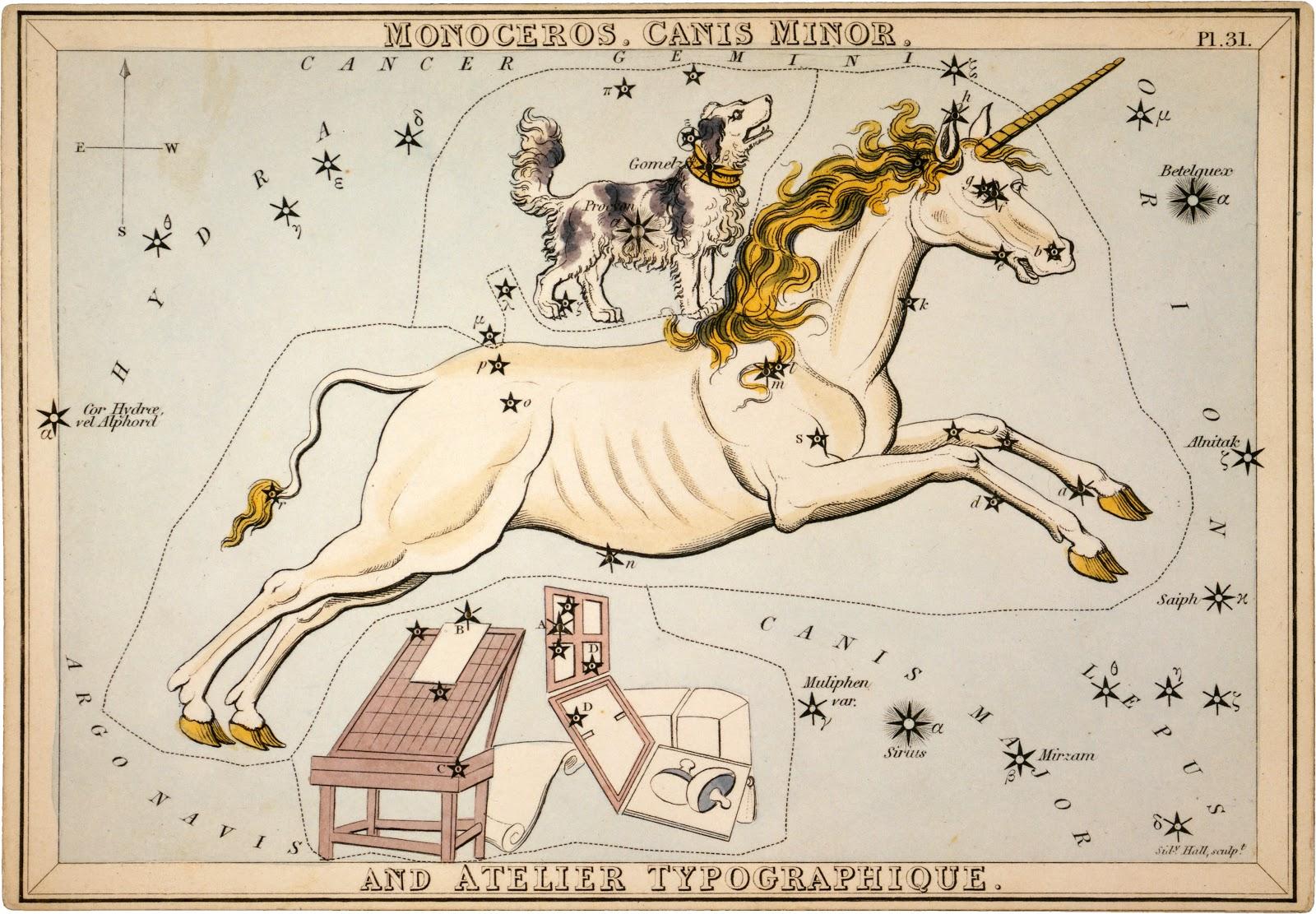 Chòm sao Monoceros và Canis Minor. Tác giả : Họa sĩ người Anh Sidney Hall. Nguồn : Thư viện Quốc hội Hoa Kỳ.