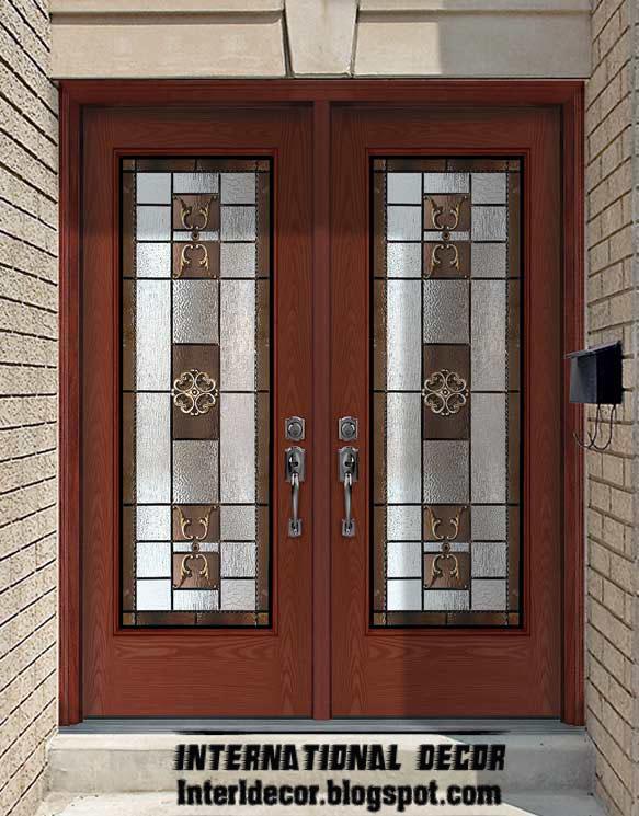 International decor: American wooden doors with stained glass designs