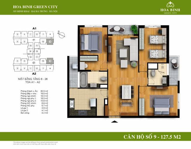 chung cư Hòa Bình Green City Căn hộ số 9 dt 127.5m2