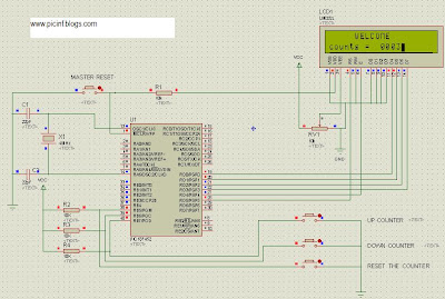 PIC18f452 counter UP and Down display on LCD, programming in mikroc,interface of button, debouncing effect, remove contineous input, IR, check heart beats with LDR,