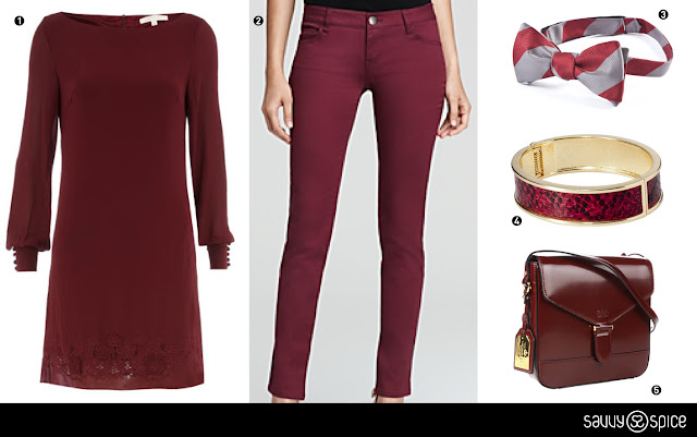 Fall+2012,+burgundy,+oxblood+bracelet,+purse+Ralph+by+Ralph+Lauren+burgundy,+grey+and+burgundy+bow+tie
