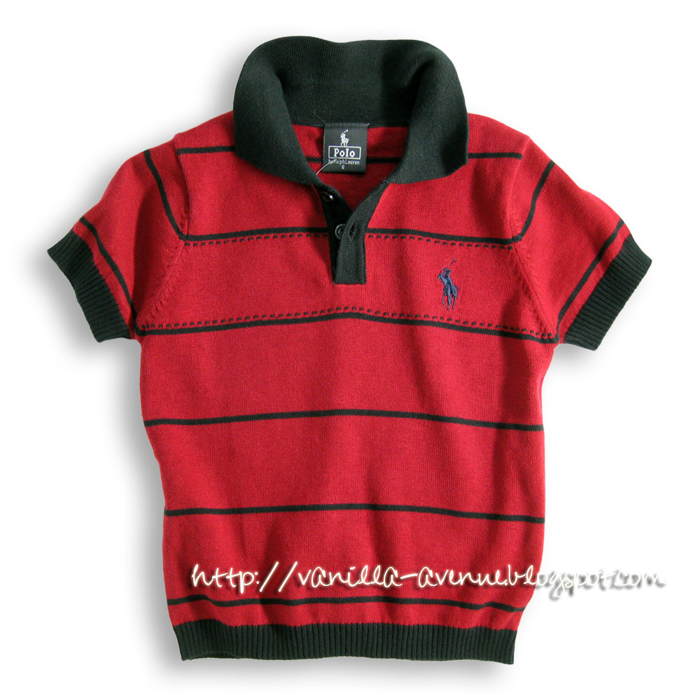 POLO Ralph Lauren Black-striped Polo Tee in Maroon