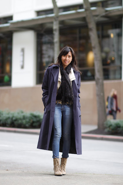 Joy Brand Blue trench coat seattle street style fashion it's my darlin'