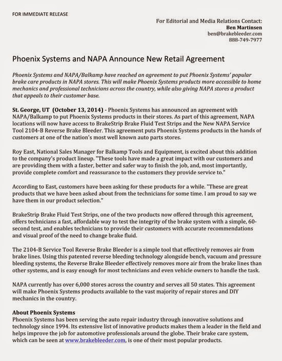 Phoenix Systems Products Now Available In Napa Stores Change